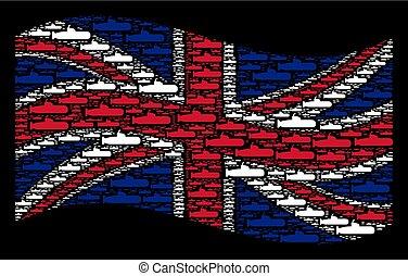 Waving UK Flag Mosaic of Submarine Items