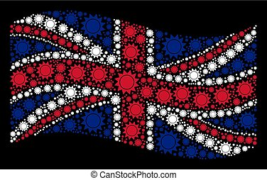 Waving UK Flag Mosaic of Sun Items