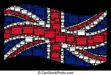 Waving UK Flag Mosaic of Toolbox Icons