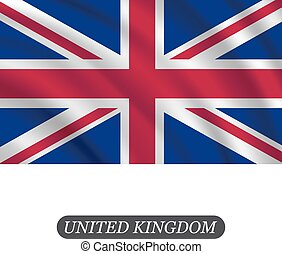 Waving UK flag on a white background. Vector illustration