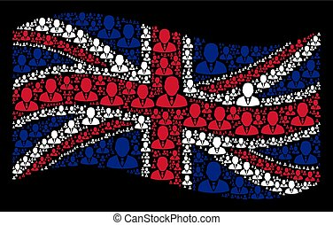 Waving UK Flag Pattern of Boss Icons