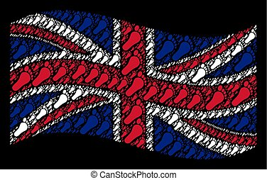 Waving UK Flag Pattern of Human Footprint Items