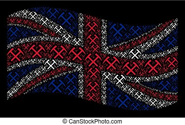 Waving UK Flag Pattern of Mining Hammers Items