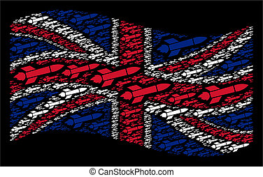 Waving UK Flag Pattern of Missile Launch Items