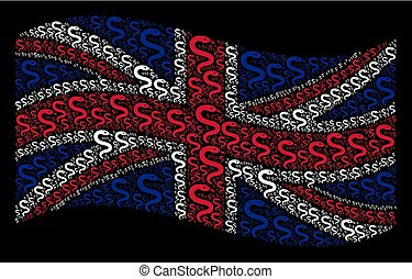 Waving UK Flag Pattern of Snake Items