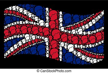 Waving UK Flag Pattern of Soldier Helmet Icons