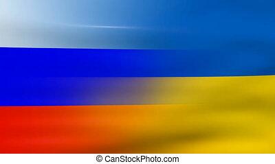 Waving Ukraine and Russia Flag