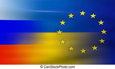 Waving Ukraine, EU and Russia Flag