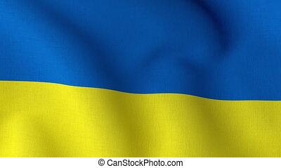 Waving Ukrainian flag. Ukraine waved flag close up fabric texture. National Ukrainian background. 3d render 4k looped animation.