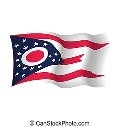 waving, unidas, illustration., flag., estados, america., vetorial, ohio