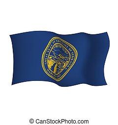waving, unidas, illustration., flag., nebraska, estados, america., vetorial