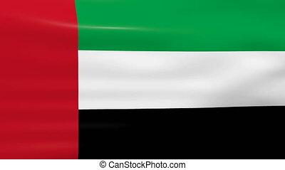 Waving United Arab Emirates Flag, ready for seamless loop.
