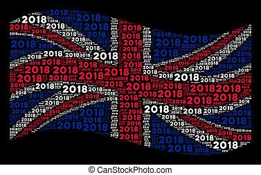 Waving United Kingdom Flag Collage of 2018 Year Texts