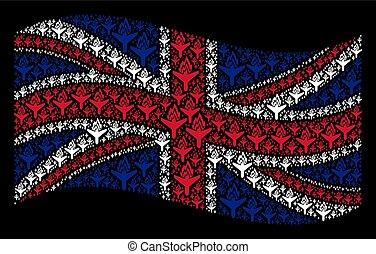 Waving United Kingdom Flag Collage of Air Crash Icons