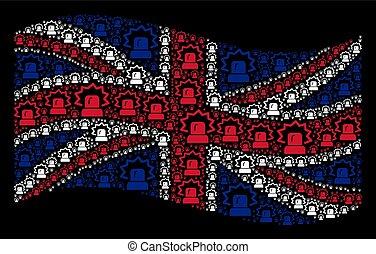 Waving United Kingdom Flag Collage of Alarm Items