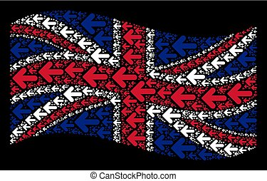 Waving United Kingdom Flag Collage of Arrow Left Icons