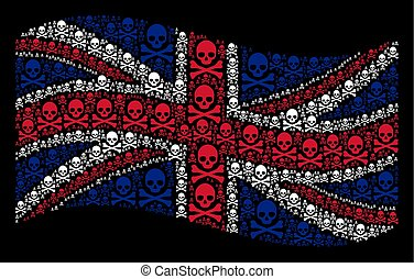 Waving United Kingdom Flag Collage of Death Skull Items