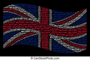 Waving United Kingdom Flag Collage of Military Texts