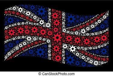 Waving United Kingdom Flag Collage of New Star Items