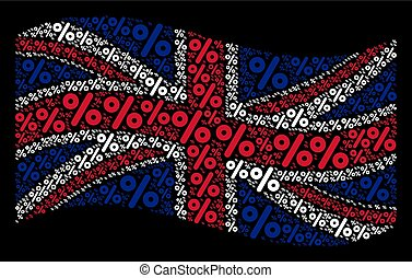 Waving United Kingdom Flag Collage of Percent Items