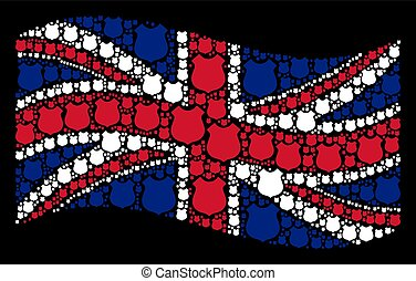 Waving United Kingdom Flag Collage of Police Shield Items