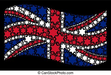 Waving United Kingdom Flag Collage of Six Pointed Star Icons