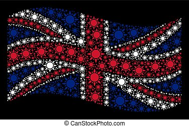 Waving United Kingdom Flag Collage of Sun Items