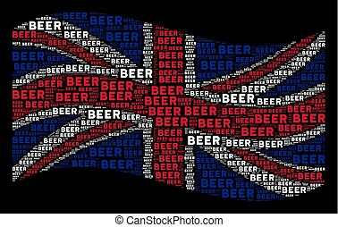 Waving United Kingdom Flag Mosaic of Beer Text Items