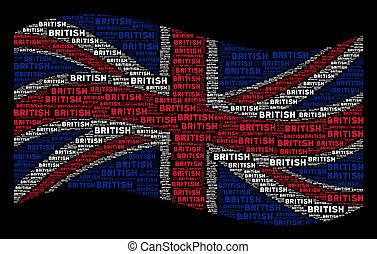 Waving United Kingdom Flag Mosaic of British Texts
