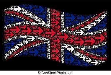 Waving United Kingdom Flag Mosaic of Right Arrow Icons