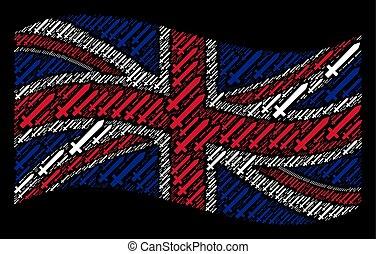 Waving United Kingdom Flag Mosaic of Sword Icons