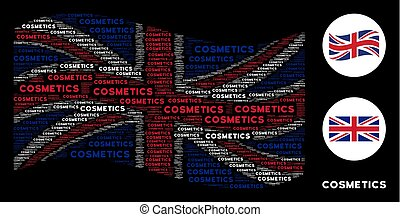 Waving United Kingdom Flag Pattern of Cosmetics Text Items