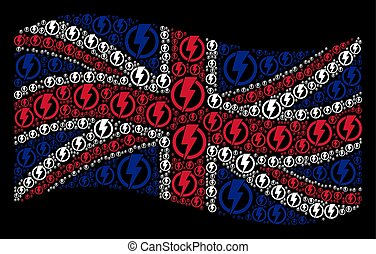 Waving United Kingdom Flag Pattern of Electricity Icons