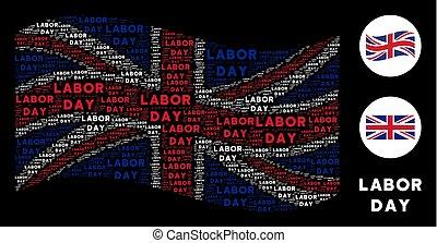 Waving United Kingdom Flag Pattern of Labor Day Texts