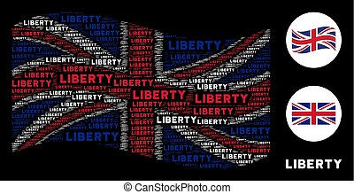 Waving United Kingdom Flag Pattern of Liberty Text Items