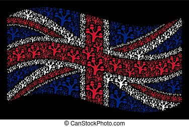 Waving United Kingdom Flag Pattern of Money Tree Items