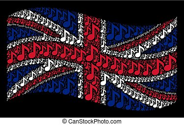 Waving United Kingdom Flag Pattern of Musical Note Items