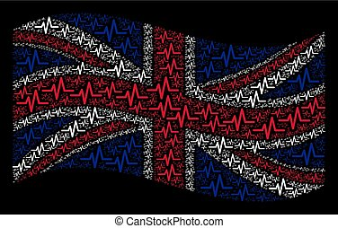 Waving United Kingdom Flag Pattern of Pulse Items