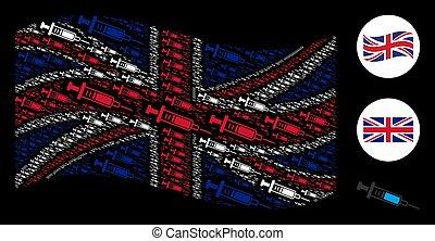 Waving United Kingdom Flag Pattern of Syringe Items