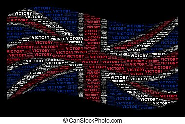 Waving United Kingdom Flag Pattern of Victory Text Items