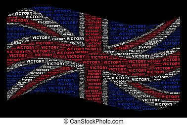 Waving United Kingdom Flag Pattern of Victory Text Items