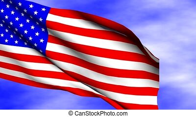 Waving United States Flag - Waving United States flag over...