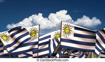 Waving Uruguayan Flags (seamless & alpha channel)