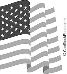 Waving U.S. Flag, black and white isolated vector illustrations