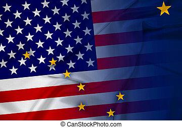 Waving USA and Alaska State Flag