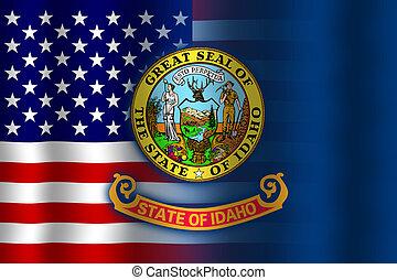 Waving USA and Idaho State Flag