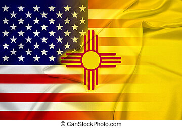 Waving USA and New Mexico State Flag