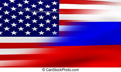 Waving USA and Russia Flag