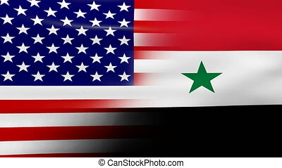 Waving USA and Syria Flag, ready for seamless loop.