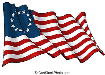 Waving USA Betsy Ross flag clean cut illustration on white background. 6.8 x 4.5 Mpxl JPG.